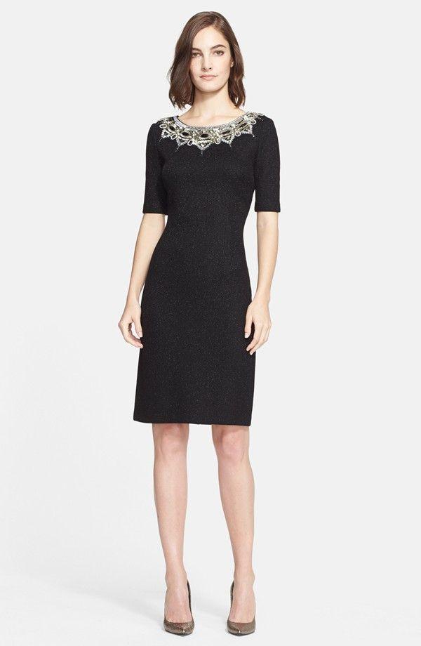 Women\'s St. John Collection Micro Textured Sparkle Knit Sheath Dress ...