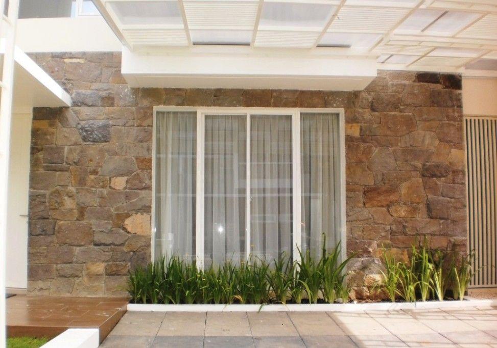 Batu Alam Sebagai Pelapis Desain Rumah Eksterior Desain Pintu Utama Desain Pintu