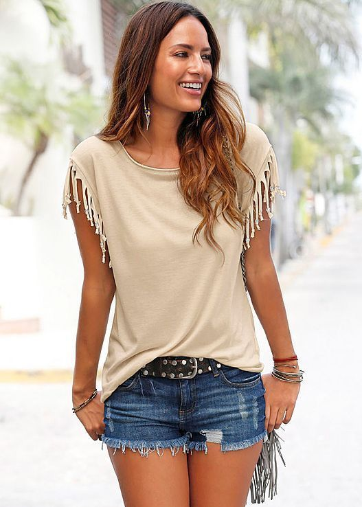 7a60277941ab4e ... Sleeve Tops Tees Tshirt Fashion For Women Sexy Blusas. Scoop Sleeveless  Tassel Casual Pure Color Blouse