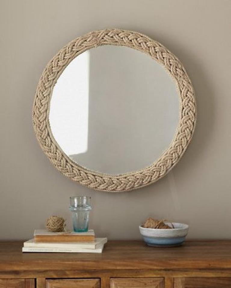 Diy beach themed bathroom mirror rope mirror diy mirror
