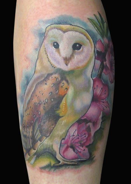 Barn Owl Cherry Blossom Tattoo Bird Tattoo Tattoos Tattoo