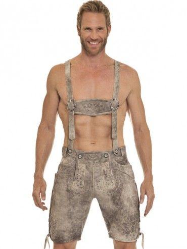 Trachten-Lederhose Luis kurz (beige stone) - MarJo    Love a man in lederhosen :)