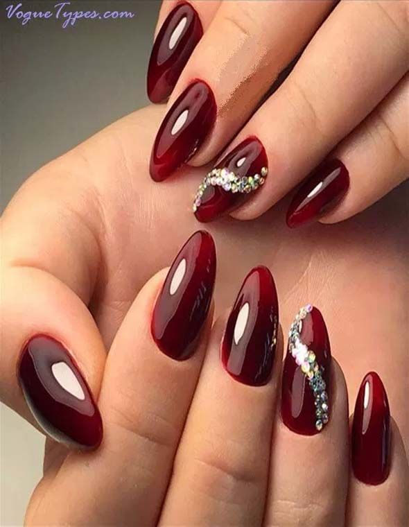 Classic Ideas Of Paint Dark Red Nails With New Styles In 2018 Red Nails Dark Red Nails Stylish Nails