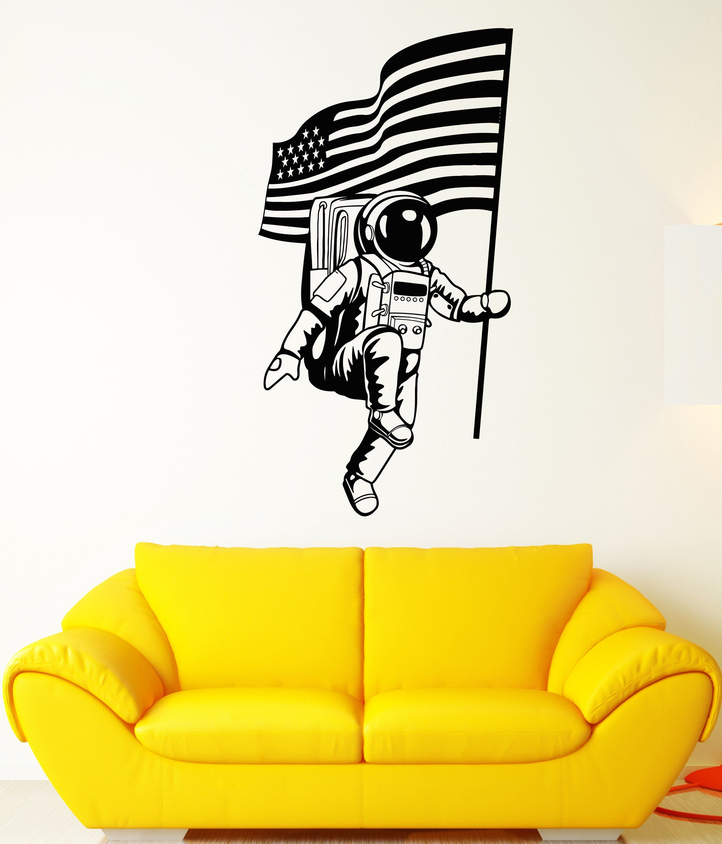 Vinyl Wall Decal American Flag Space Astronaut Spaceman Stickers ...