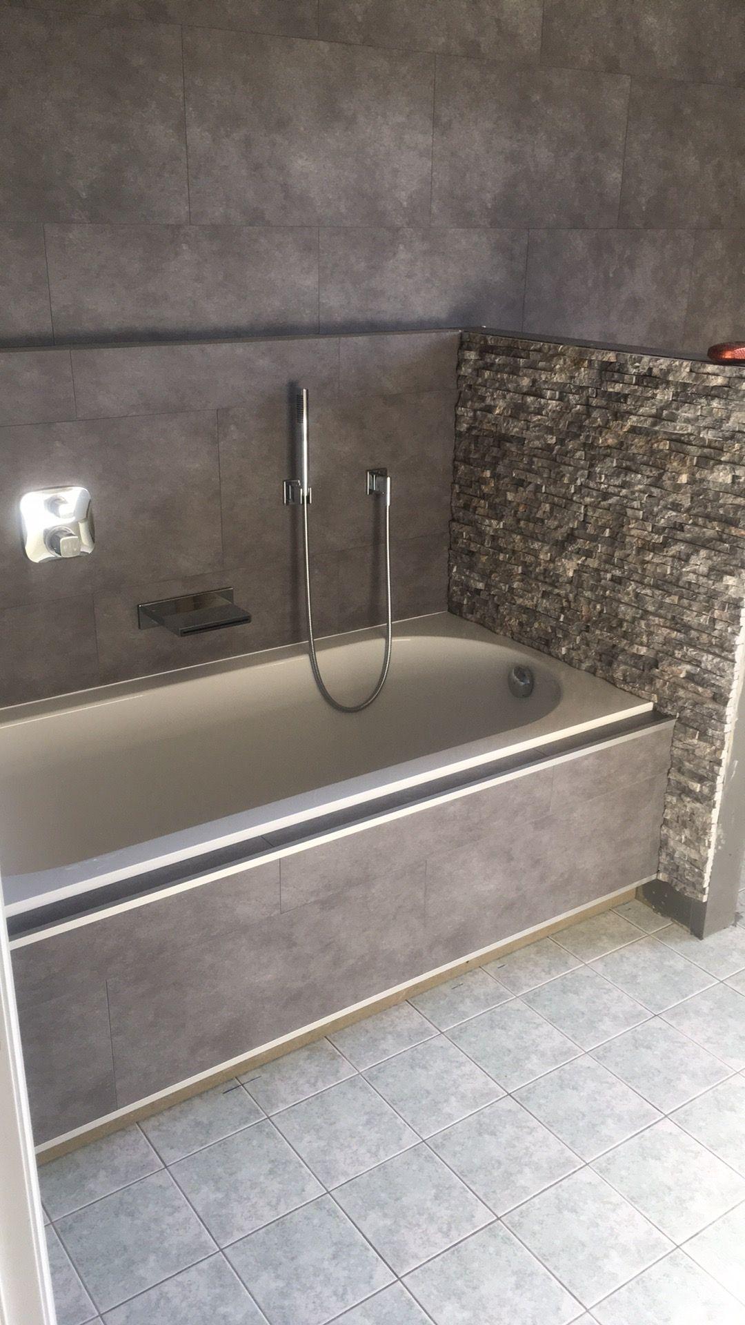 Renovatie badkamer#steenstrips#dornbracht | Badkamer | Pinterest
