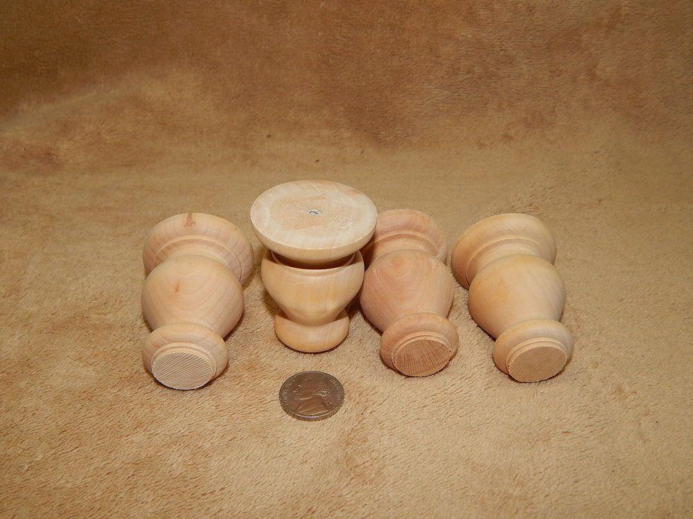 Unfinished Hard Wood Wooden Short Turned Bun Feet Lot Of 4 Unbranded Furniture Legs Unfinished Wooden