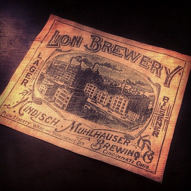 Lion Brewery custom ephemera by The Type Hunter.  Hand weathered piece created from old advertising art from one of Cincinnati's finest. #typehunter #vintagelabel #breweriana #ohioquality #badgehunting