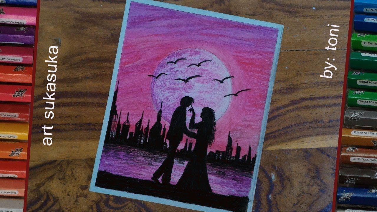 purple scenerycara menggambar pemandangan yang indah