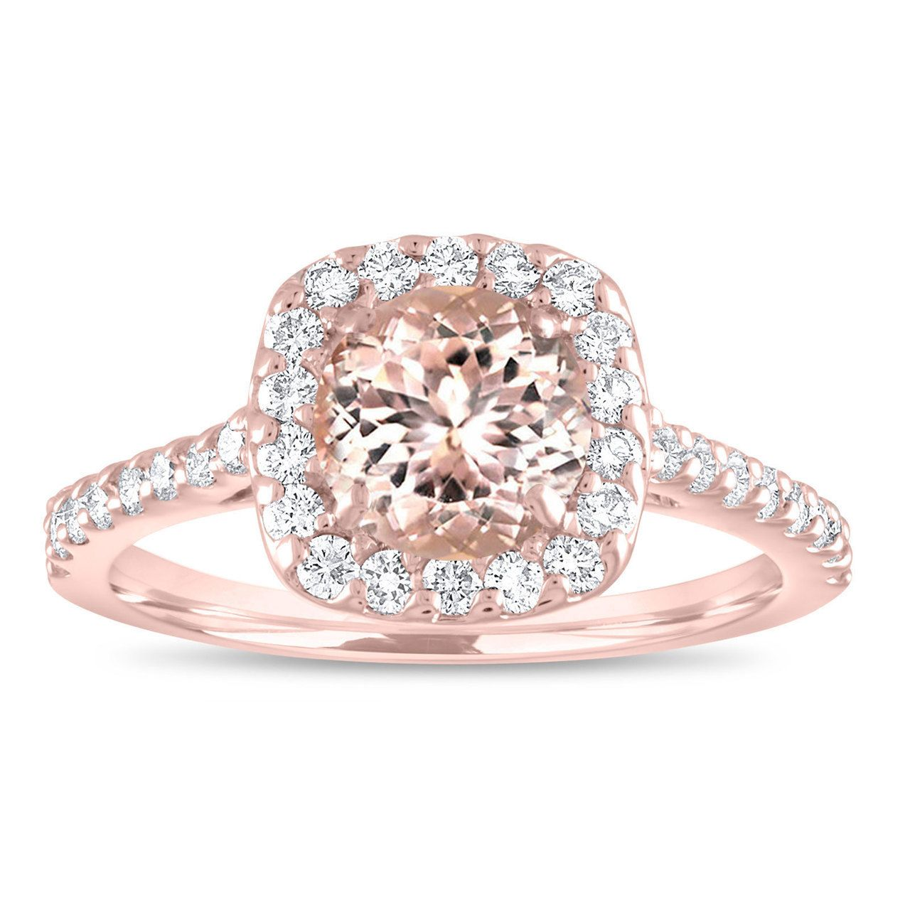 Photo of Morganite Engagement Ring Rose Gold, Pink Morganite Cushion Cut Bridal Ring, Peach Morganite Wedding Ring 1.47 Carat Certified Pave Handmade