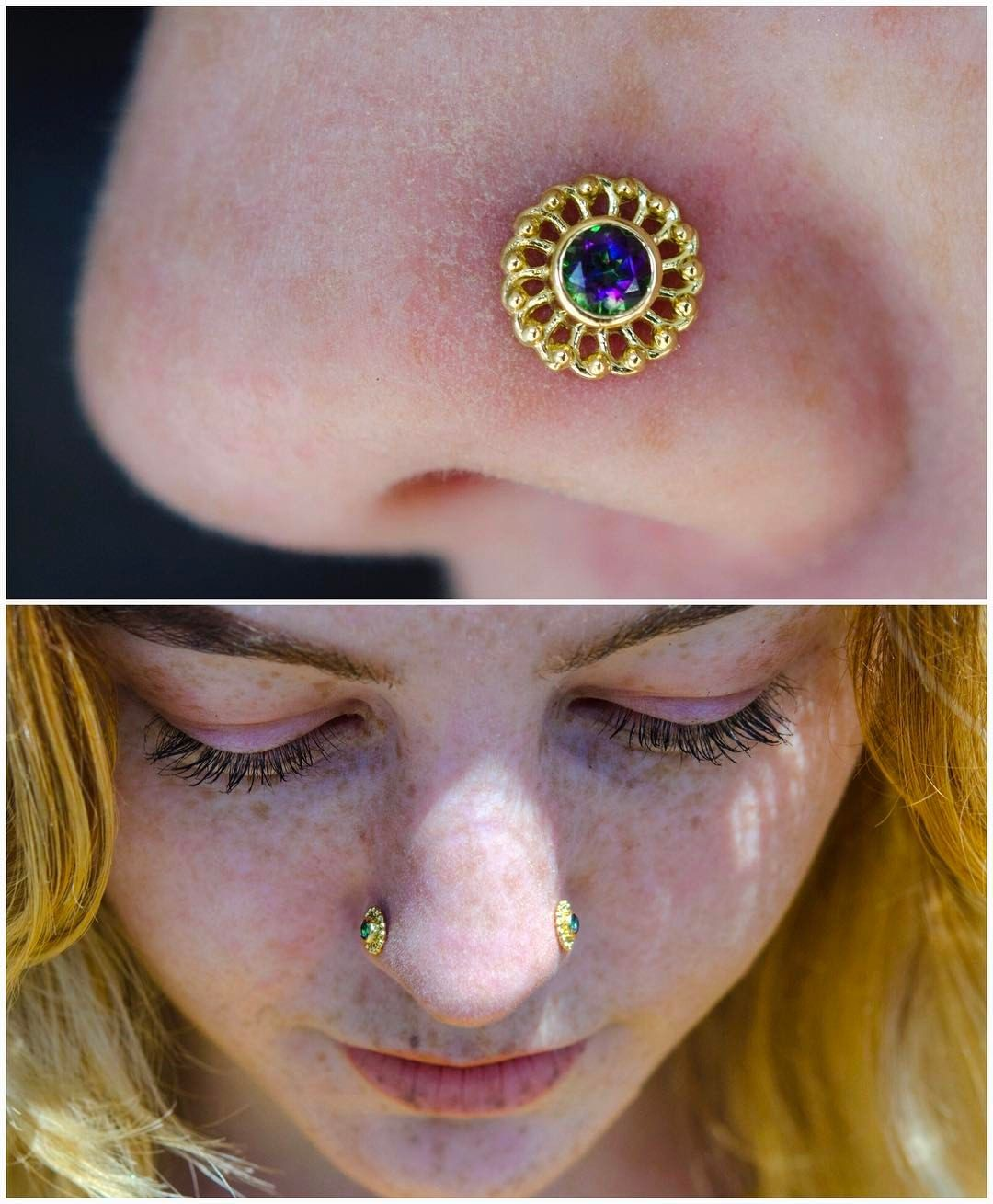 Nose piercing before and after  This lovely client drove back and forth from both of our