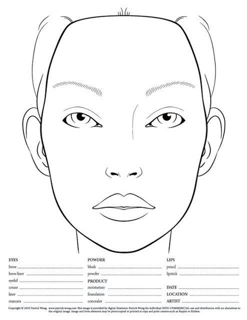 10 Blank Face Chart Templates Male Face Charts And Female Face