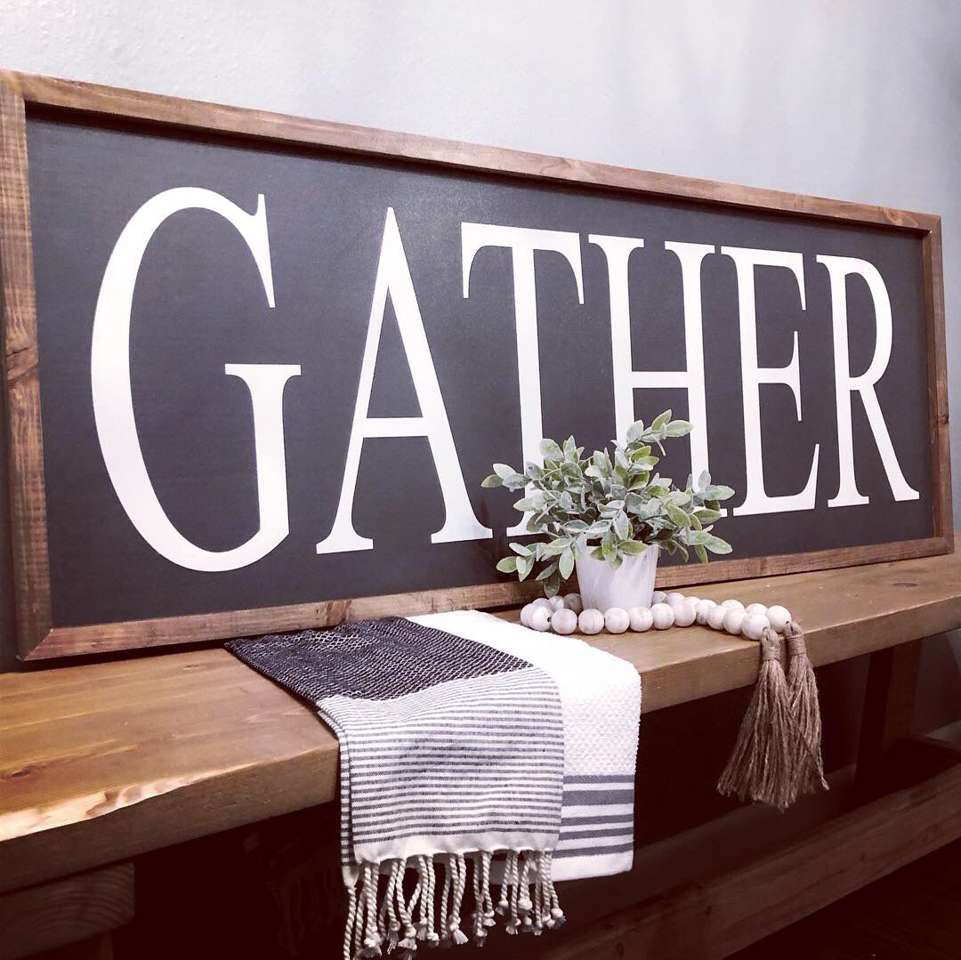 Large Gather wood sign extra large farmhouse sign for