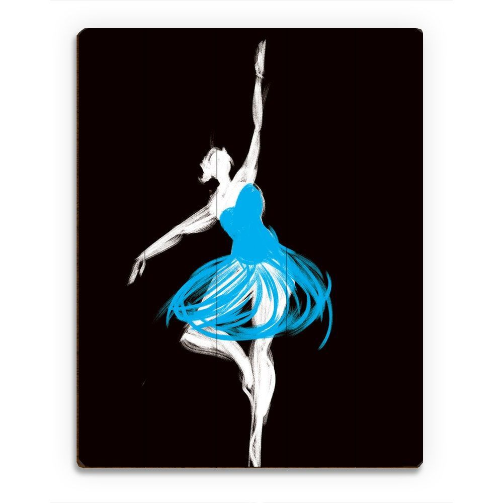 Blue ballerina wall art print on wood ballerina