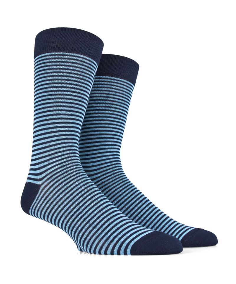 Men's Socks in Soft Cotton - Blue Mini Stripes - SockStyle.co.uk