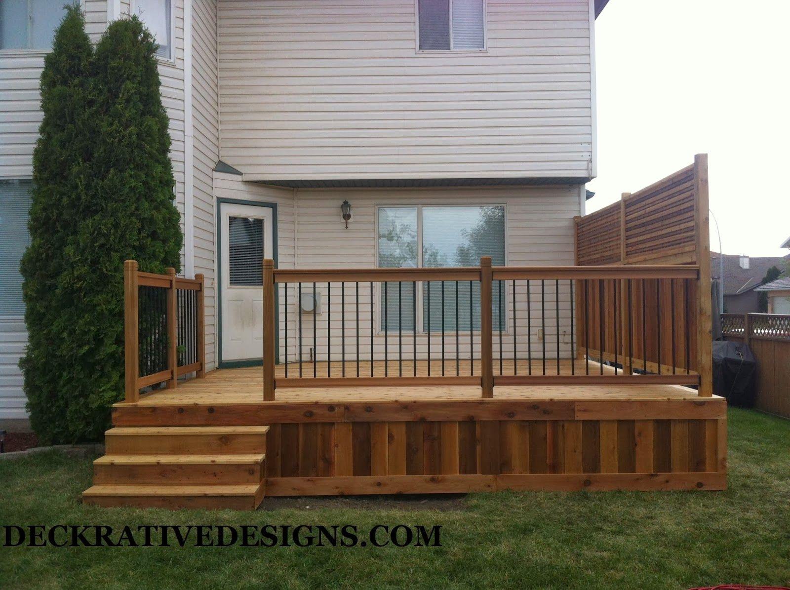 Calgary Decking Designs With Cedar Lattice And Skirting Deck