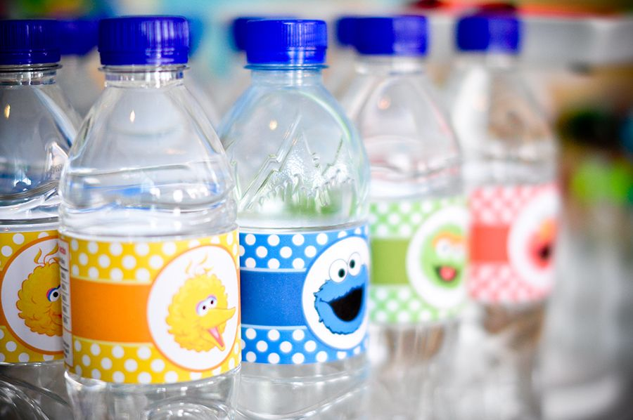 Sesame Street theme bottled water