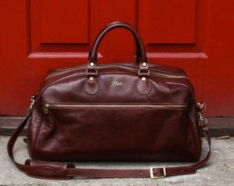 "Leather Cabin Bag 22"" / Floto 142180 Brown Travel Bag / Leather ..."