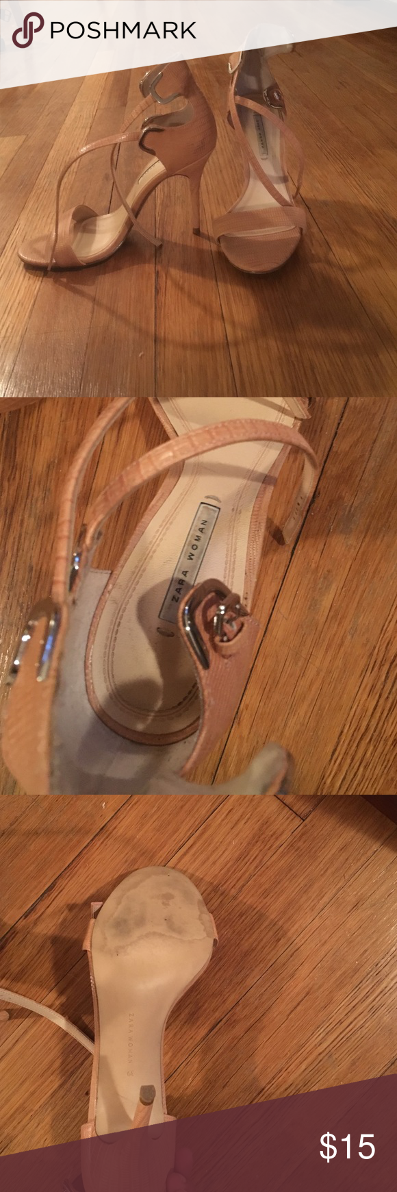 Peach open toe 3 inch Zara heels Super comfy Zara heels. Great with jeans and dresses. Zara Shoes Heels