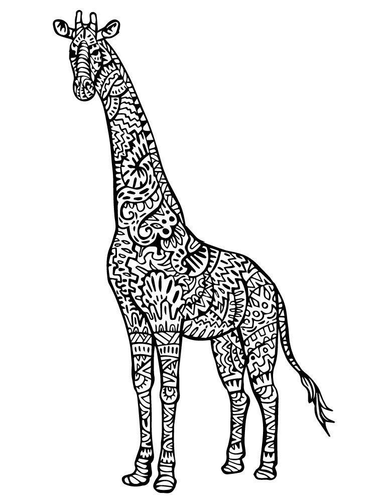 Coloriage girafe mandala tattoo animal imprimer coloriage d 39 animaux animal adult coloring - Madala a imprimer ...