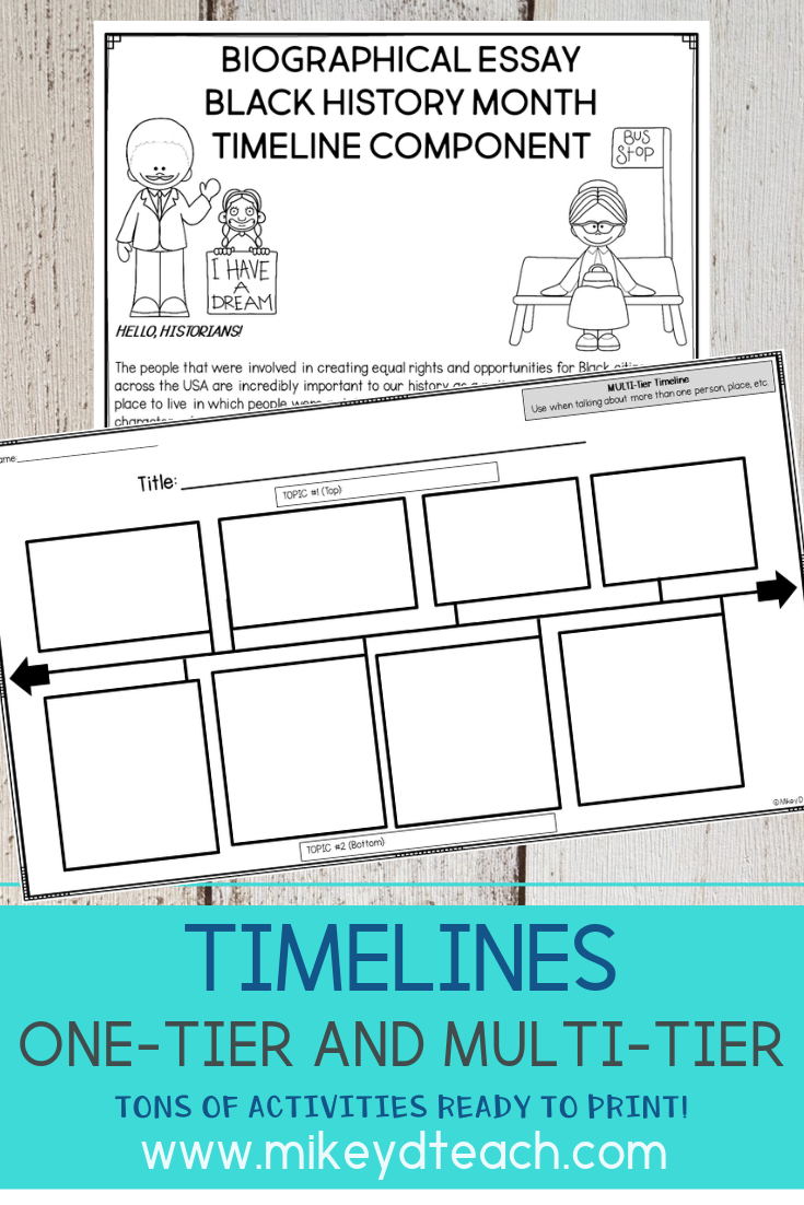 One-Tier Timeline and Multi-Tier Timeline Activities   Distance Learning    Writing curriculum [ 1102 x 735 Pixel ]