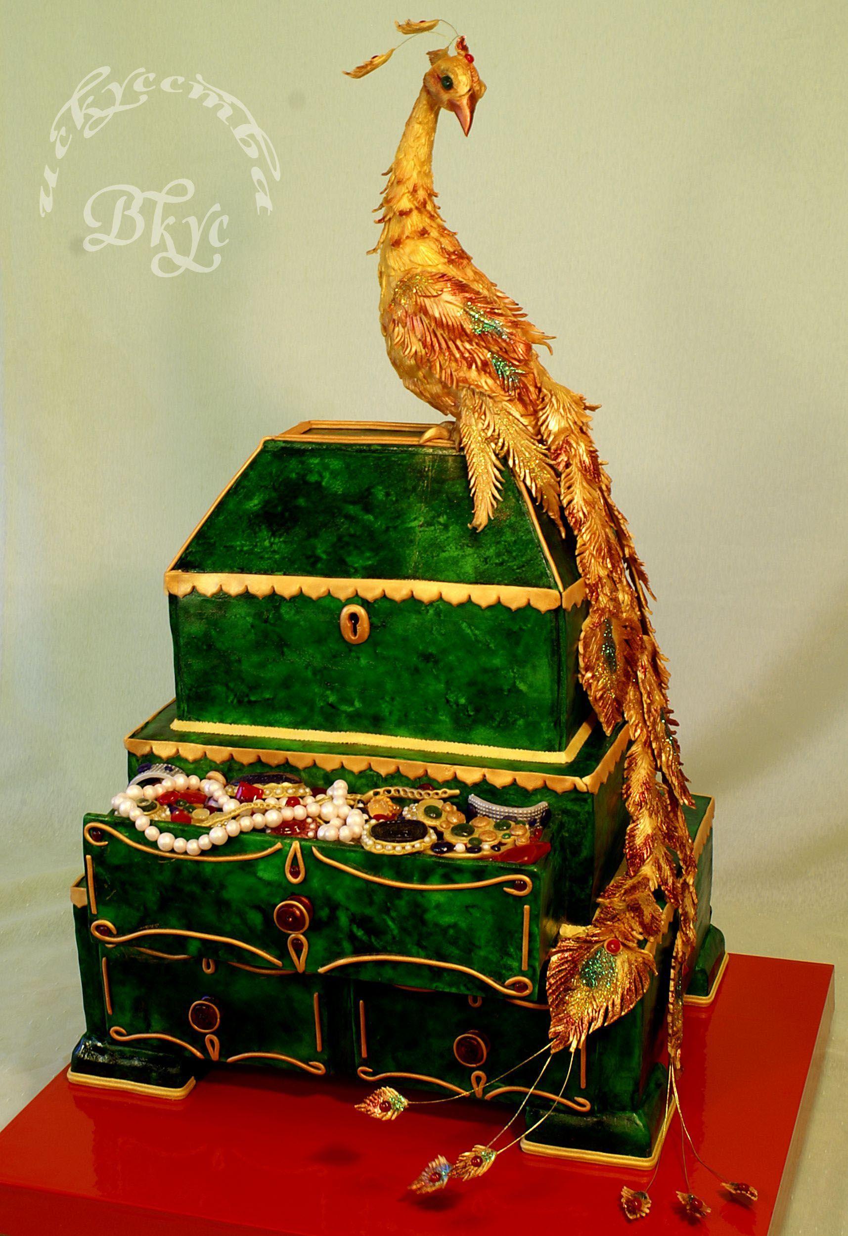 "Birthday Cakes - Wedding cake ""the Malachite larets and Fire-bird"". 20 kg, three-level pie and birdie. Height is 76 cm."