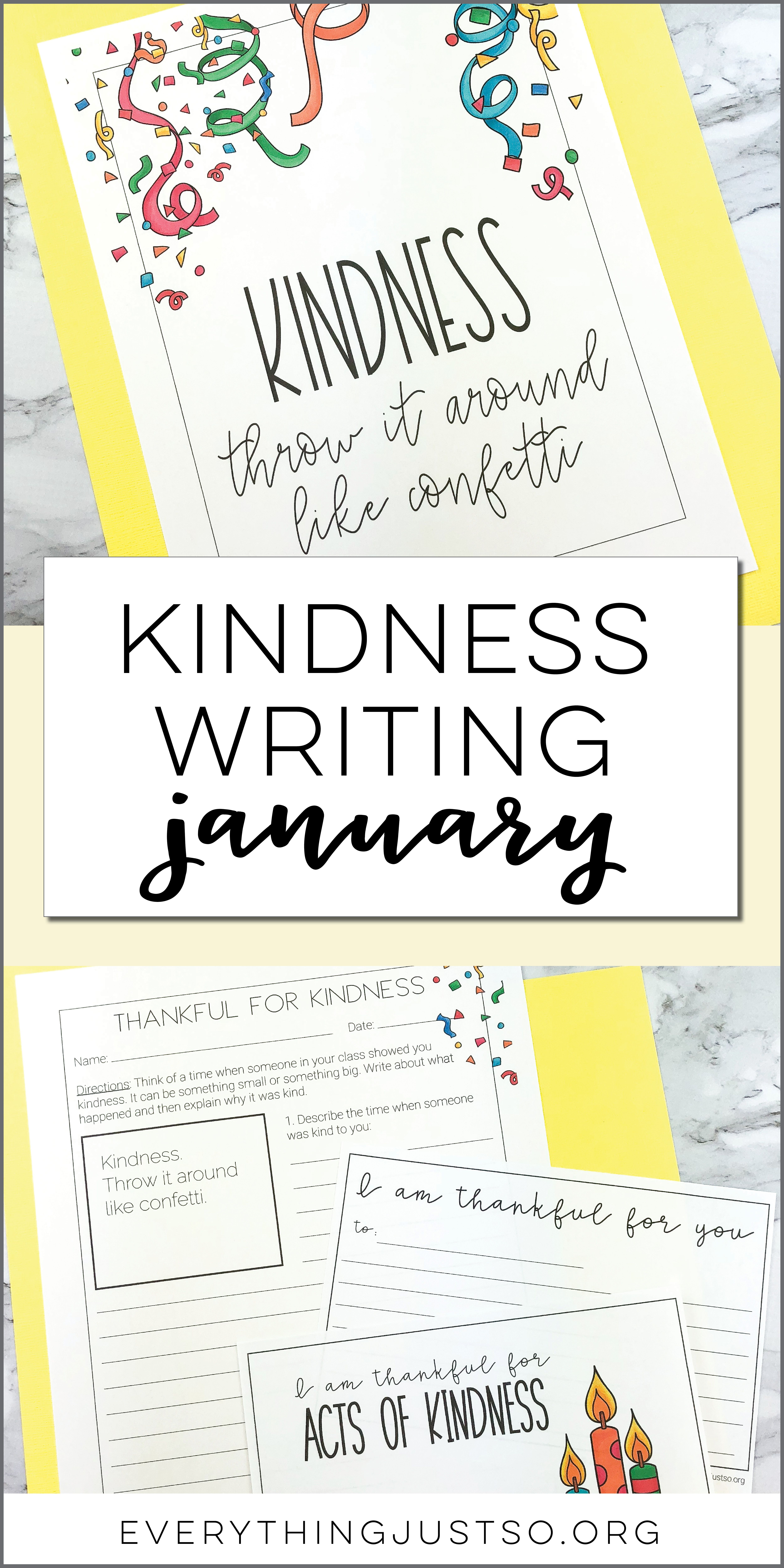 January Thankful For Kindness Writing Activity