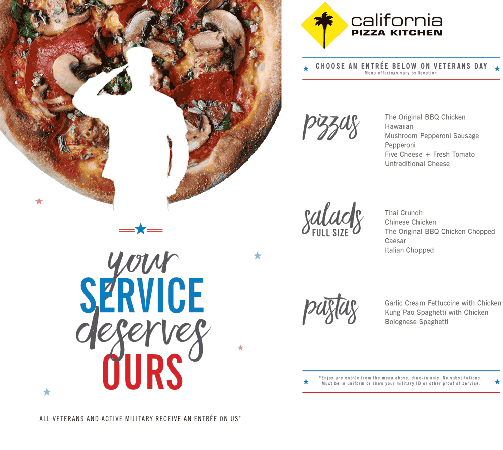 California Pizza Kitchen Coupon U0026 California Pizza Kitchen Promo Code From  The Coupons App. Military ID Gets You A Free Entree Today At California  Pizza ...