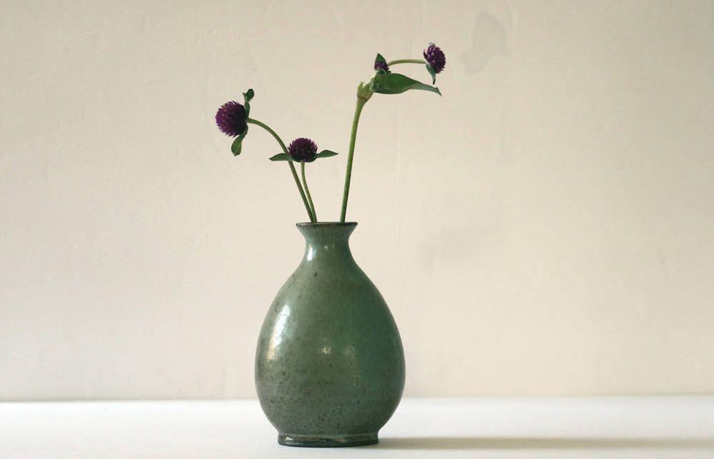 Handmade Ceramic Vase Pottery Bud Vase Moss Green Vase By