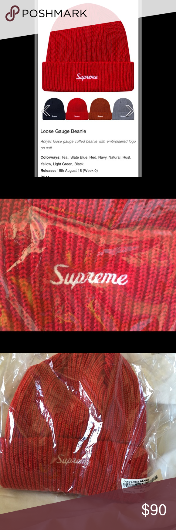 a3779656078 Supreme Loose Gauge Beanie Loose Gauge Beanie Acrylic loose gauge cuffed beanie  with embroidered logo on cuff. Color  Red Release  16th August 18 (Week 0)  ...