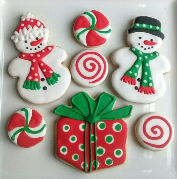 Christmas Sugar Cookies Large 3 With Royal Icing Snowman Mittens