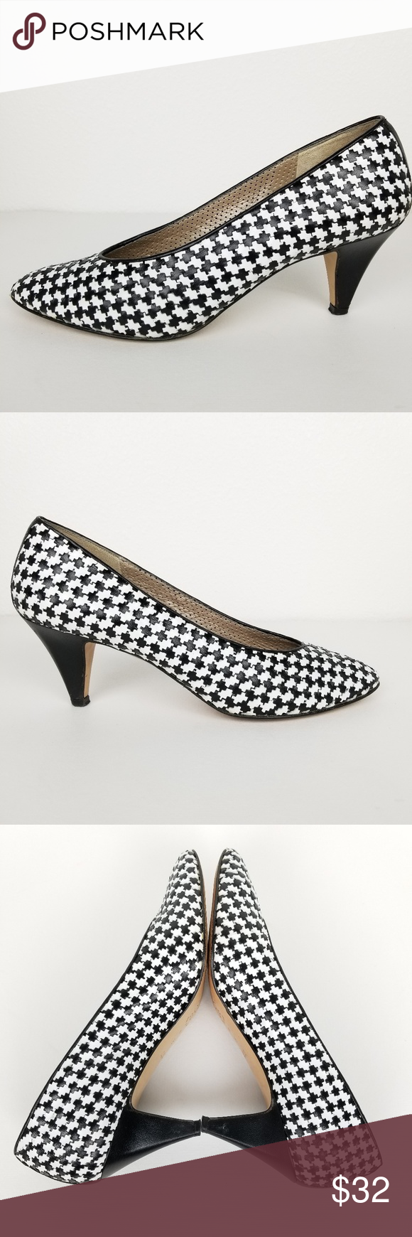 Amalfi   houndstooth   black & white   8AAA Amalfi heels • 8AAA NARROW • black & white houndstooth  • made in Italy  • leather sole Pre-owned, wear on the soles and a small snag on the inside of the right heel, please see photos. Otherwise, great condition.  Approximate measurements  • heel height: 3