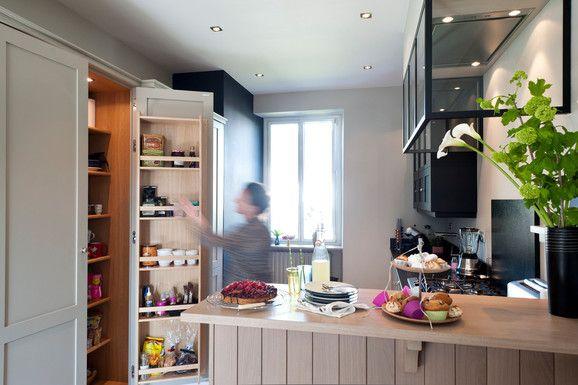 entrée ouverte pièces vie 10 m2 bar salle à manger fabricant cuisine