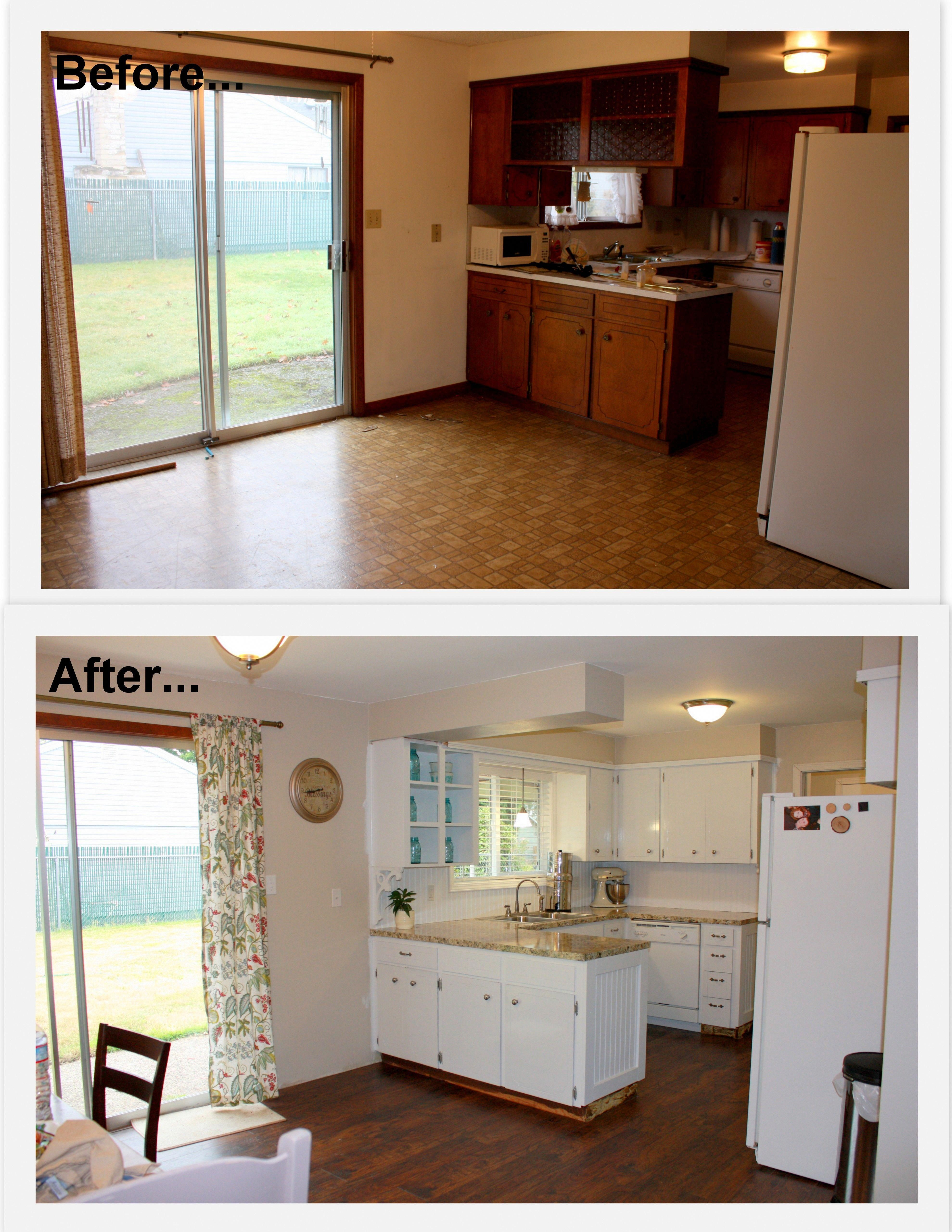 1960 s kitchen makeover remodel before and after hardwood flooring painted white cabinets new on kitchen cabinets painted before and after id=76373