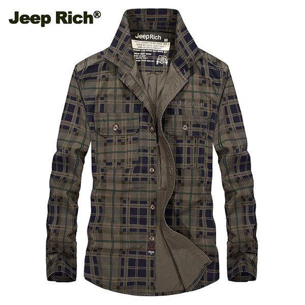 Jeep Rich Loose Casual Cotton Long-sleeved Plaid Shirts Spring Autumn Fall Fashion Men Grid Checks at Banggood