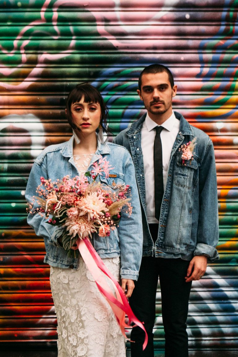 A pink glitter london elopement edgy city bridal style