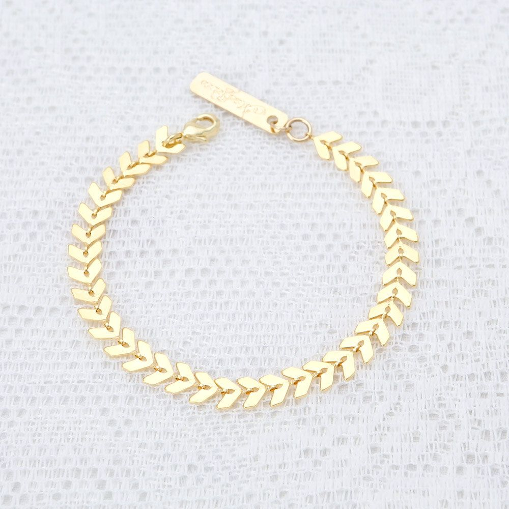 Delicate gold bracelet dainty geometric chain bracelet layered