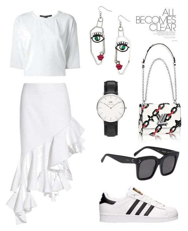 """""""All White"""" by fashionwonderer ❤ liked on Polyvore featuring Jacquemus, Theory, adidas, CÉLINE and Daniel Wellington"""