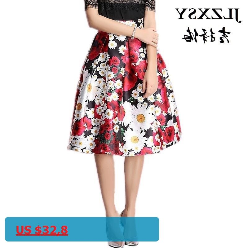 Women Vintage Hepburn Floral Print Pleated Midi Skirt Ball Gown Flared  Swing Skirts 7fd14111327f