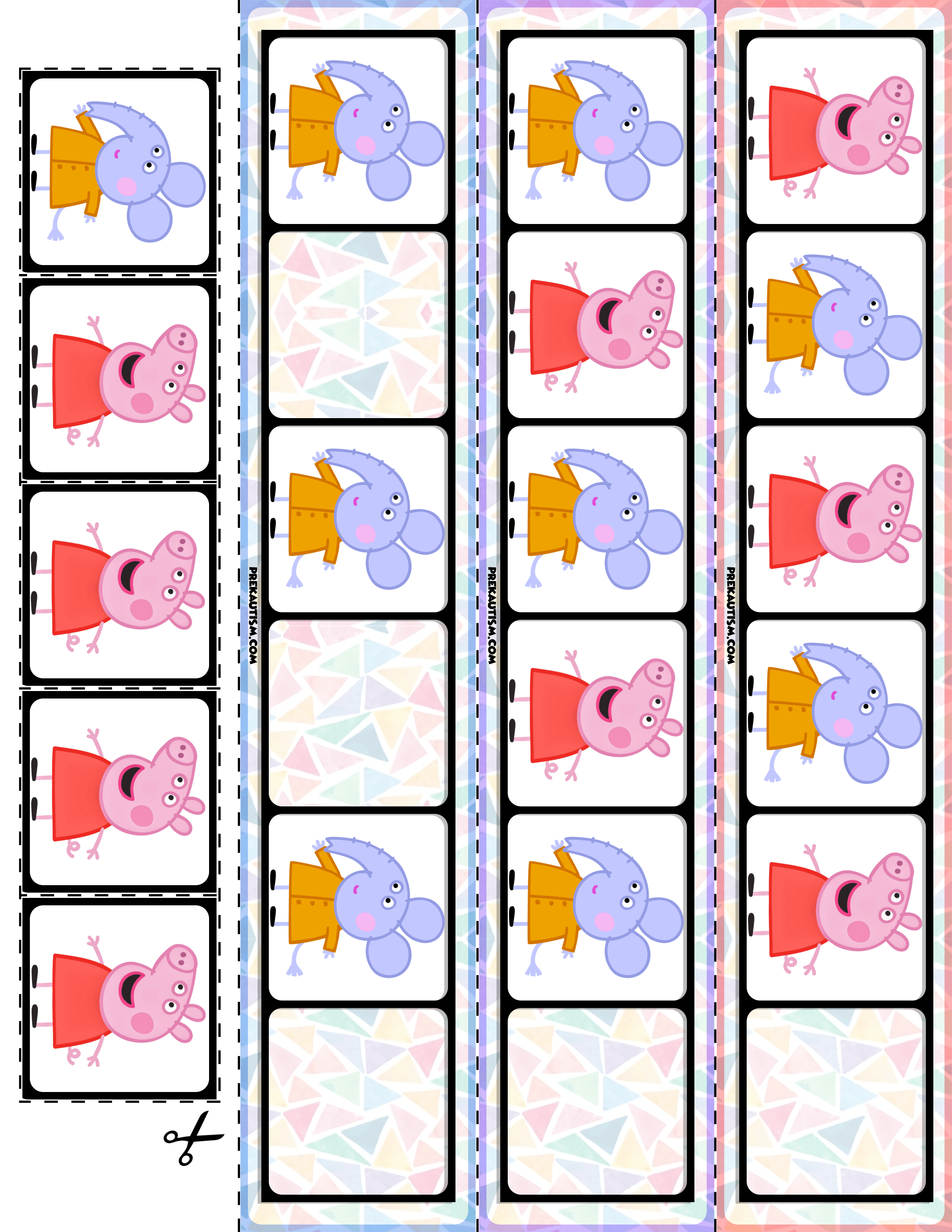 Preschool Peppa Pig Pattern Cards With Images