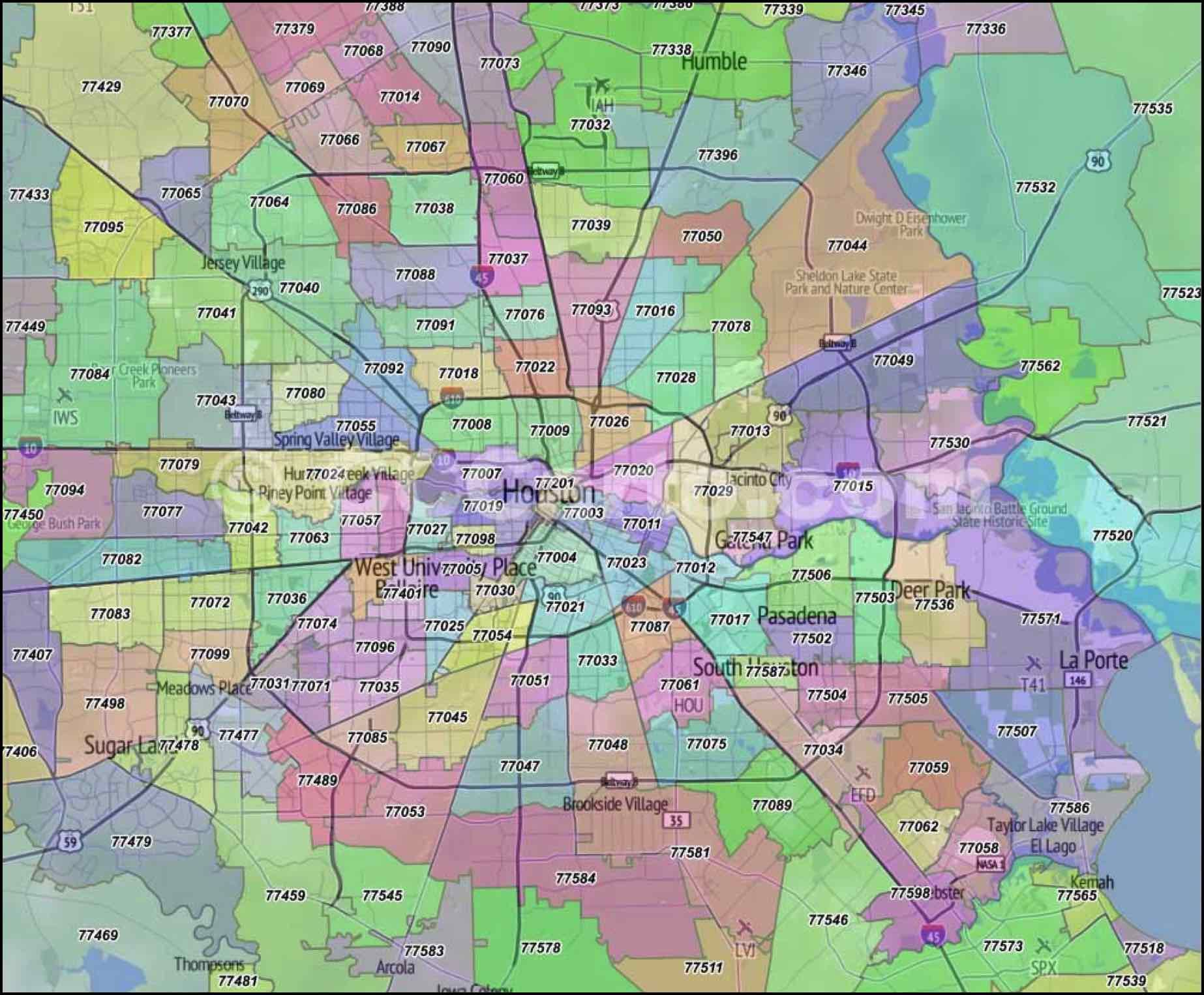 Harris County Zip Code Map Houston Zip Code Map | Houston zip code map, Zip code map, Houston map