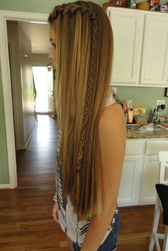 Long Hipster Hair   Highlighted Straight Style With Asymmetrical Braid    Hairstyles Weekly I Like This!