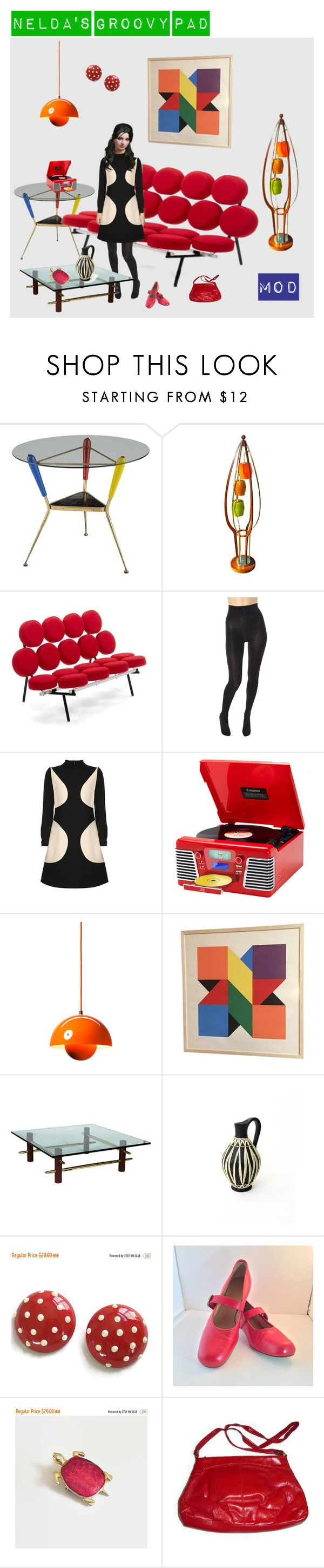 """""""Nelda's Groovy Pad"""" by anna-ragland ❤ liked on Polyvore featuring Herman Miller, Wolford, Emanuel Ungaro, Retrò, &Tradition, T.H. Robsjohn-Gibbings and vintage"""