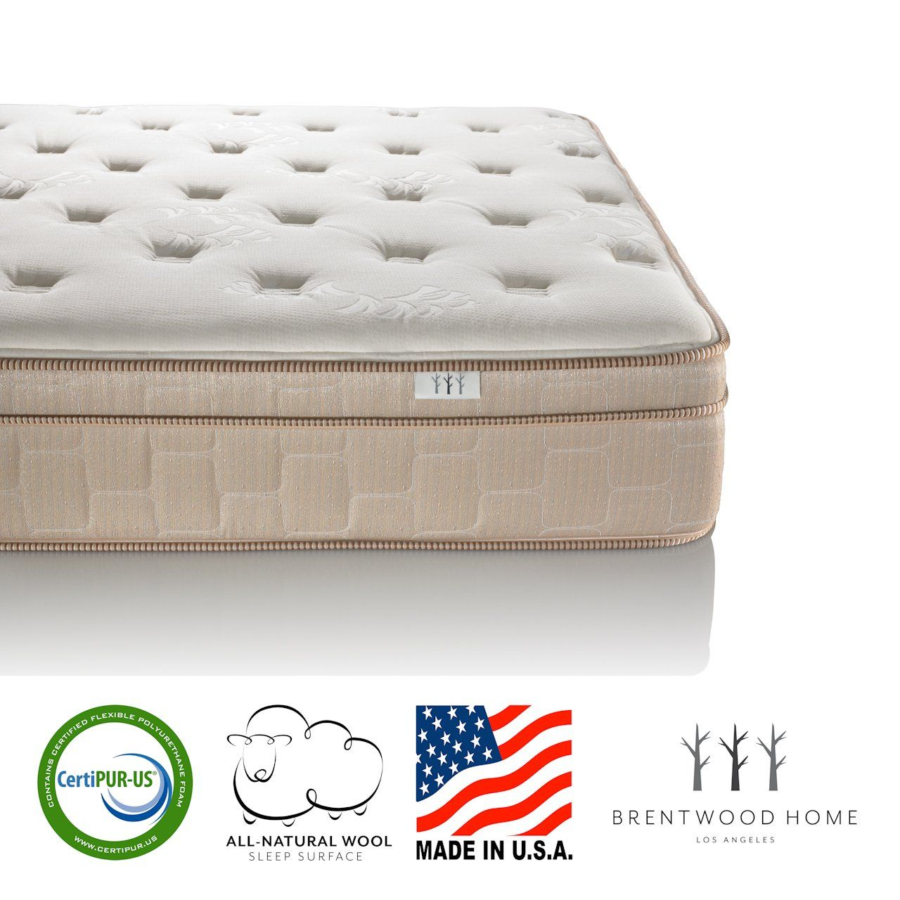 Brentwood Home Finale 11 Inch Eurotop Innerspring Mattress Certipur Us Made In Usa Natural Wool Layer Full Si Mattress Mattress Box Springs Guest Room Bed