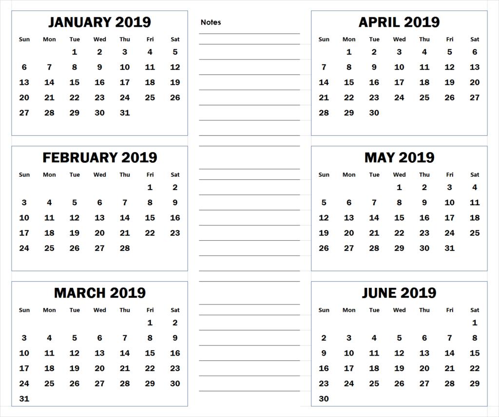 6 Month Calendar 2019 blank six month 2019 printable calendar | 2019 Calendars | Blank