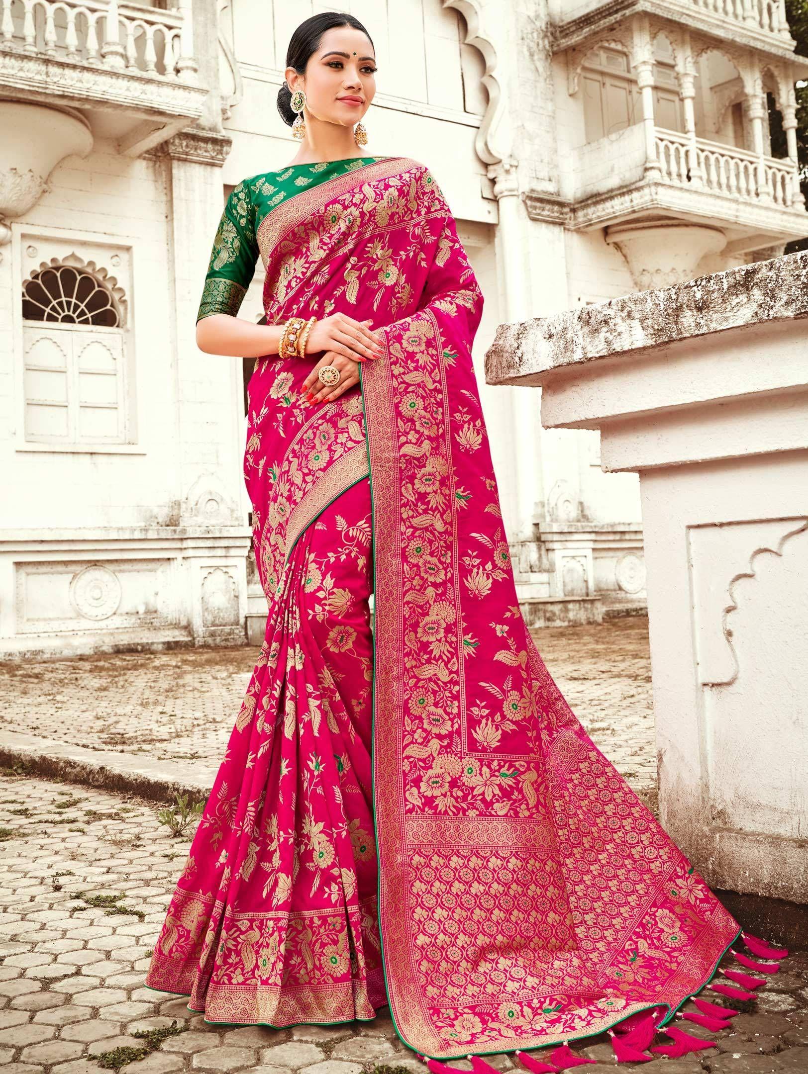 saree for women designer saree,traditional saree Pink Heavy Banarasi weaving Silk saree and blouse for women Indian saree,wedding saree