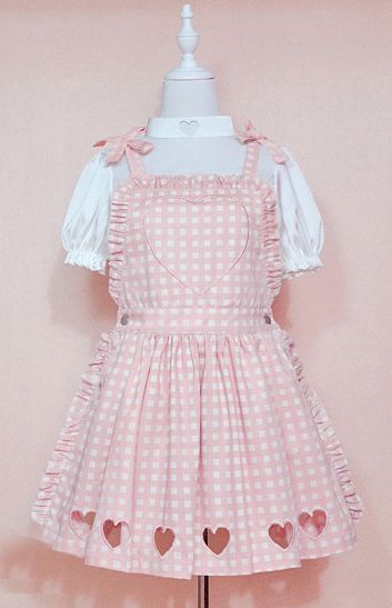 Cute baby pink embroidered heart plaid dress
