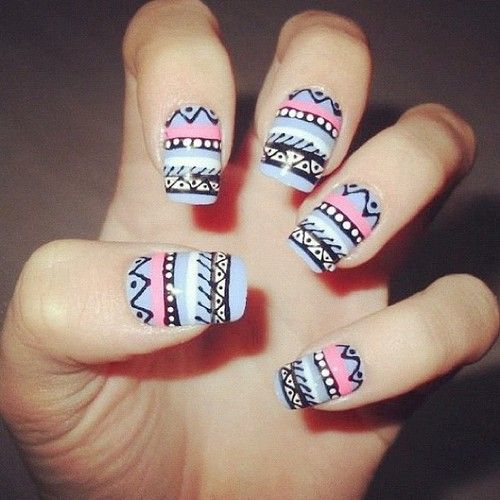 Aztec nails absolutely love the aztec patterns in fashion tribal print nails aztec nails absolutely love the aztec prinsesfo Image collections