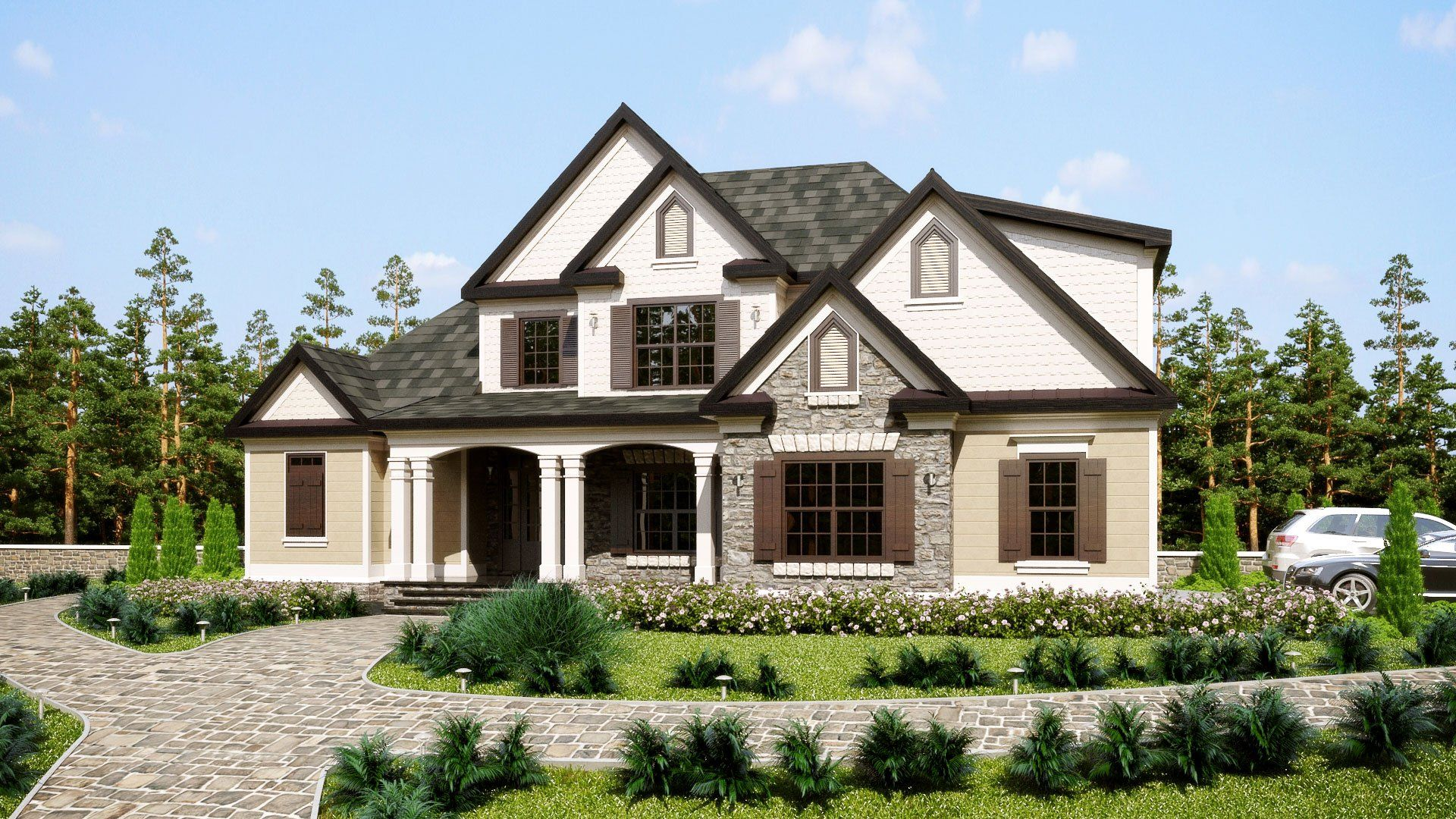 Three Story Southern Style House Plan with front porch ...