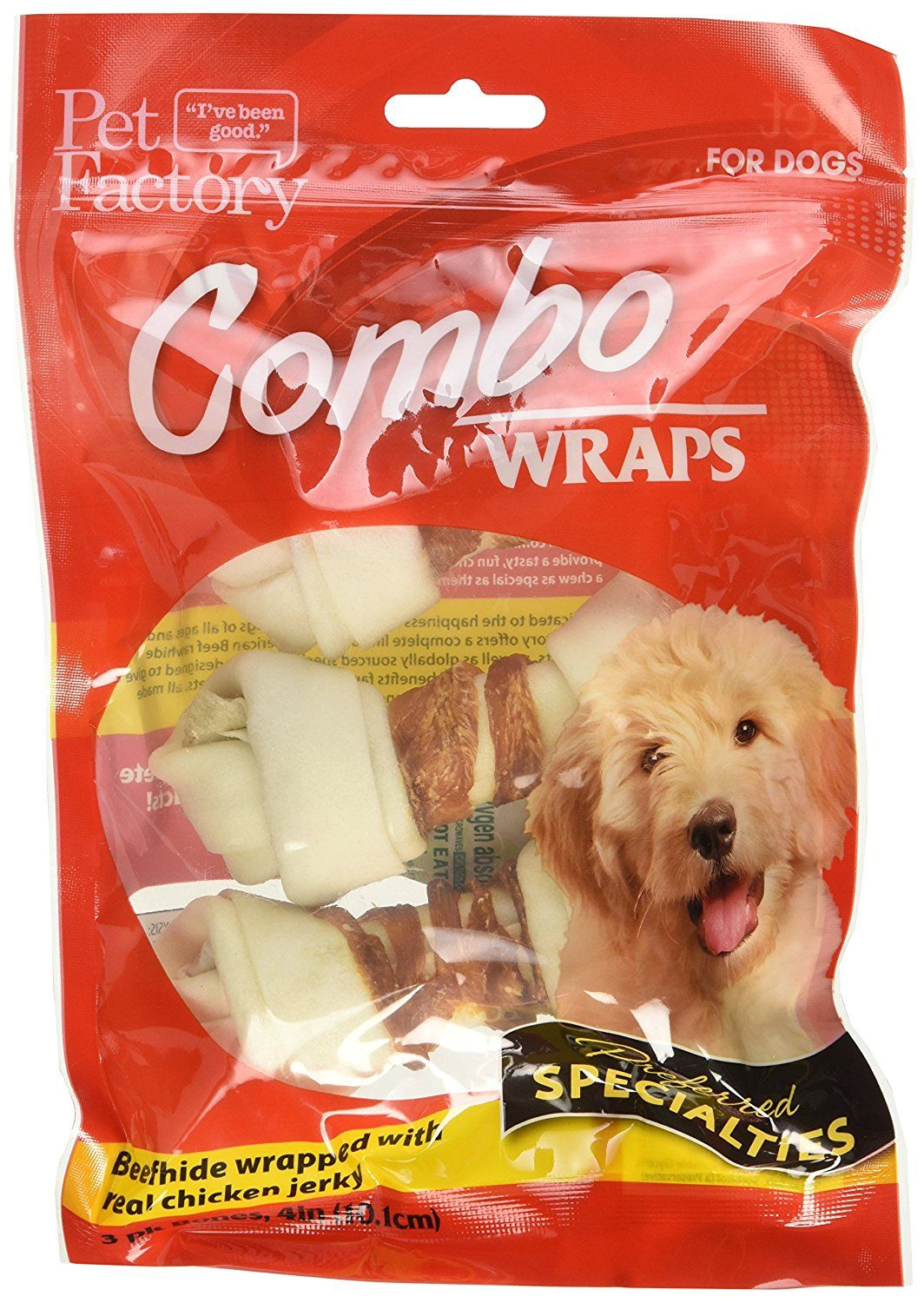 Pet Factory Rawhide Bones Wrapped With Chicken Meat Chews For Dogs