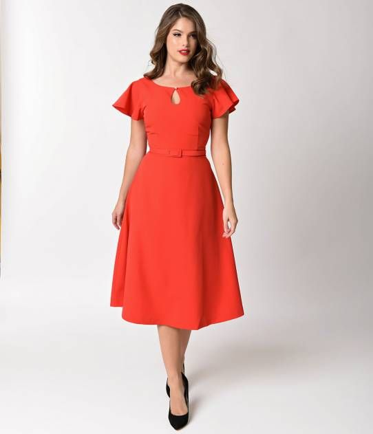 Red swing style dress